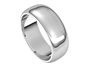 Alson Signature Collection 14K White Gold 7MM Half Round Band