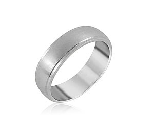 Alson Signature Collection Men's 6MM Band, Fashioned in 14K White Gold, Featuring a Satin Finished Center and High Polished Edges