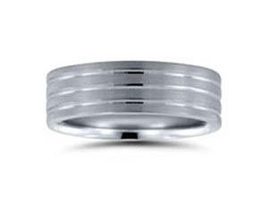 Alson Signature Collection Men's 7MM Band, Fashioned in 14K White Gold, Featuring a Satin Finish with High Polished Grooves
