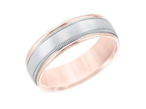 ArtCarved Men's 14K White and Rose Gold 6.5MM Comfort Fit Band, with High Polished Edges, Milgrain and Satin Finished Center