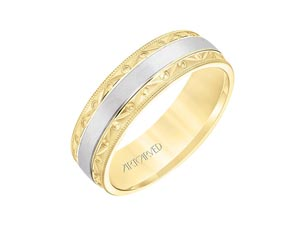 ArtCarved Men's 6.5MM Comfort Fit Band, Fashioned in 14K Yellow and White Gold, Satin Finished with Engraving and Milgrain