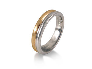 ArtCarved Men's 5MM Band, Fashioned in 14K Yellow and White Gold, with Satin and High Polished Finish