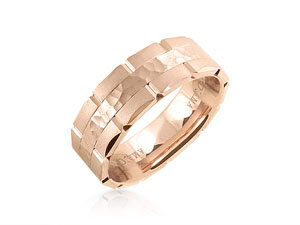 ArtCarved Men's14K Rose Gold 7.5MM Hammered & Brushed Finish Comfort Fit Band