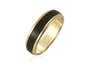 ArtCarved Men's Yellow & Black Tungsten 6MM Band