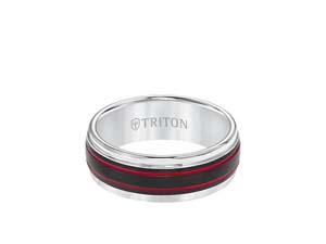 ArtCarved Men's Tungsten with Red & Black Stripe 8MM Band