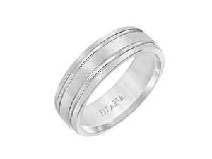 ArtCarved Men's 14K White Gold 7MM Comfort Fit Satin Finish Band