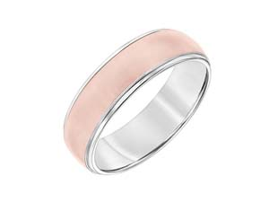 ArtCarved Men's 14K White & Rose Gold 7MM Satin & High Polish Band