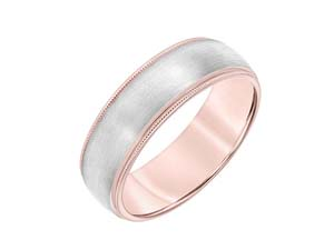 ArtCarved Men's 14K Rose & White Gold 7MM Band, with a Satin Finished Center and Milgrain Edges