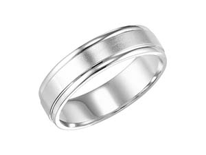 ArtCarved Men's 14K White Gold 7MM Band, with a Satin Finish Center and High Polish Round Edges