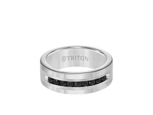 ArtCarved Men's 8MM Band, Fashioned in Tungsten and Sterling Silver and Featuring 9 Round Black Diamonds Equaling .50 Carats.