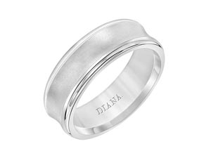 ArtCarved Men's 18K White Gold 7MM Concaved Band, with a Satin Finished Center and High Polished Edges