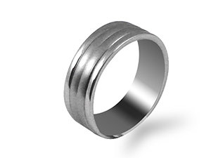 ArtCarved Men's 14K White Gold 7.5MM Ribbed Band, with a Satin Finished Center and High Polished Edges