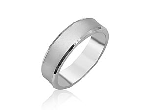 ArtCarved Men's 14K White Gold 6MM Concaved Satin Finish Beveled Edge Band