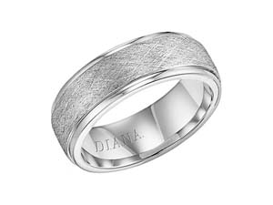 ArtCarved Men's 14K White Gold 7.5MM Band, with a Wire Finished Center and High Polished Edges