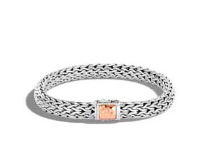 John Hardy Silver & 18K Rose Gold Classic Chain Hammered Medium Bracelet