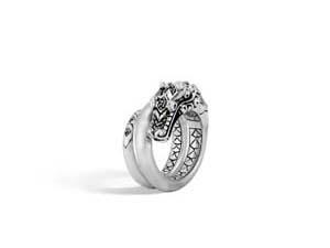 John Hardy Silver Naga Black Spinel & Blue Sapphire Ring