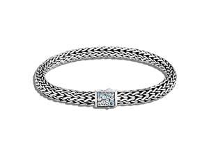 John Hardy Silver Classic Chain Reverisble Black Sapphire & Aquamarine Bracelet
