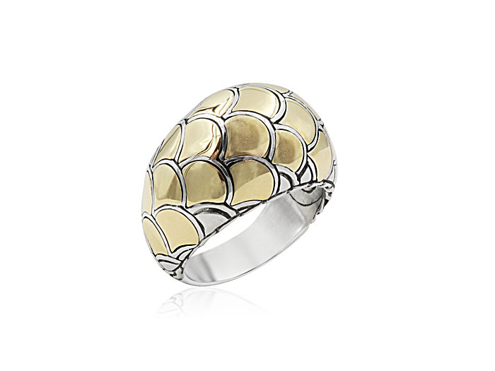 John Hardy Naga Dome Ring, Fashioned in Sterling Silver and 18K Yellow Gold