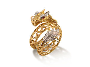 John Hardy Naga Coil Ring, Fashioned in 18K Yellow Gold, Featuring Round Diamonds =.19cts Total Weight, with Ruby Eyes