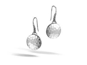 John Hardy Silver Dot Round Drop French Wire Earrings