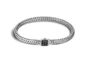 John Hardy Silver Extra Small Classic Chain Bracelet, Featuring a Clasp with Black Sapphires