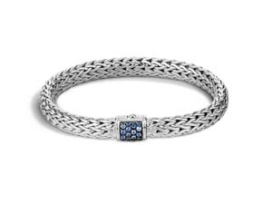 John Hardy Silver Classic Chain Medium Bracelet, Featuring a Clasp with Blue Sapphries