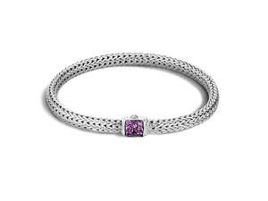 John Hardy Silver Extra Small Classic Chain Amethyst Bracelet