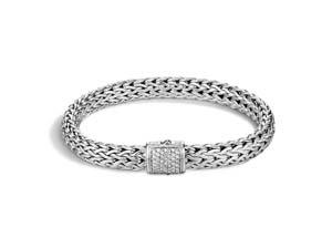 John Hardy Silver Medium Classic Chain Pave Diamond Bracelet