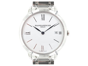 Baume & Mercier Classima 36.5MM Steel Watch, Featuring a White Dial and Quartz Movement