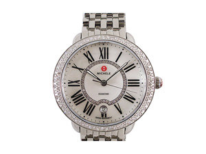 Michele Serein Stainless Steel Watch, Featuring a Diamond Case, Mother of Pearl Diamond Dial and Quartz Movement, Bracelet or Strap Sold Separately