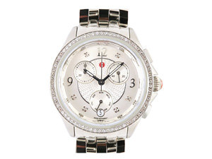 Michele Belmore Chronograph Steel Watch, Featuring a Diamond Case, Silver Diamond Dial and Quartz Movement, Bracelet and Strap Sold Separately