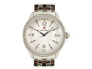 Michele Belmore Stainless Steel Watch, Featuring a Diamond Case, Silver Diamond Dial and Quartz Movement, Bracelet or Strap Sold Separately
