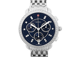 Michele Sidney Chronograph Steel Watch, Featuring a Diamond Case, Navy Diamond Dial and Quartz Movement, Strap or Bracelet Sold Separately