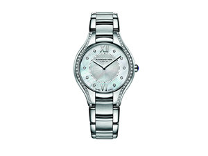 Raymond Weil Noemia Stainless Steel Watch, Featuring a Mother of Pearl Dial with Roman Numerals and Diamond Markers, Diamond Case and Quartz Movement
