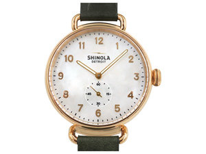 Shinola Canfield 38MM Rose Gold PVD Watch, Featuring a Mother of Pearl Dial, Spruce Green Leather Strap and Quartz Movement