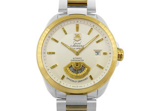 Alson Pre-Owned Tag Heuer Grand Carrera 42MM Stainless Steel and 18K Yellow Gold Watch Featuring a Skeleton Case Back, Silver Dial and Automatic Movement