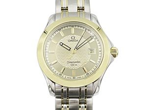 Alson Pre-Owned Omega Seamaster 38MM Steel & 18K Yellow Gold Watch, with a Smooth Bezel, Champagne Stick Dial and Quartz Movement
