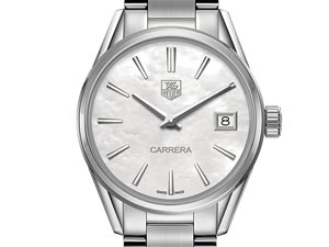 Tag Heuer Carrera 32MM Watch, Fashioned in Stainless Steel, Featuring a Mother of Pearl Dial and Quartz Movement