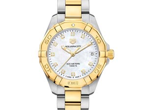 Tag Heuer Aquaracer 32MM Steel with Gold Plating Watch, with a Mother of Pearl Diamond Dial and Quartz Movement