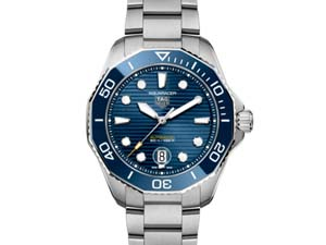 Tag Heuer Aquaracer Professional 300 43MM Steel Watch, with a Blue Ceramic Bezel, Blue Dial and Automatic Movement