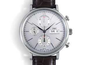 IWC Portofino Chronograph 42MM Watch, Fashioned in Stainless Steel, Featuring a Silver Dial, Brown Alligator Strap and Automatic Movement