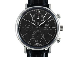 IWC Portofino Chronograph 42MM Watch, Fashioned in Stainless Steel, Featuring a Black Dial, Black Alligator Strap and Automatic Movement
