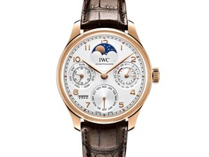 IWC Portugieser Perpetual Calendar Moonphase 44.2MM Watch, Fashioned in 18K Rose Gold, Featuring a Silver Plated Dial, Brown Alligator Strap and Automatic Movement