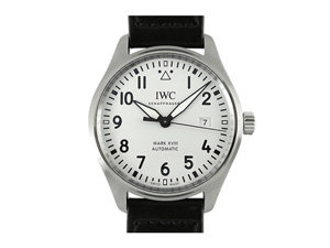 IWC Pilot Classic Mark XVIII 40MM Steel Watch, Featuring a Silver-Plated Dial, Black Calfskin Strap and Automatic Movement