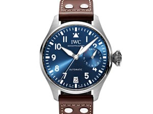 IWC Big Pilot's Le Petit Prince 46MM Steel Watch, Featuring a Blue Dial, Brown Calfskin Strap and Automatic Movement
