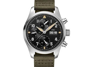 IWC Pilot's Spitfire Chronograph 41MM Steel Watch, with a Black Dial, Green Textile Strap and Automatic Movement with 48 Hours Power Reserve