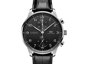 IWC Portugieser Chronograph 41MM Steel Watch, with a Black Dial, Black Alligator Strap and Automatic Movement with 46 Hours Power Reserve
