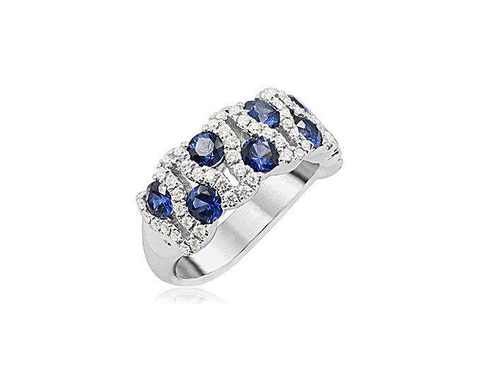 Spark 18K White Gold Blue Sapphire & Diamond Band, Featuring 9 Blue Sapphires =1.62cts Total Weight, Accented with Round Diamonds =.39cts Total Weight
