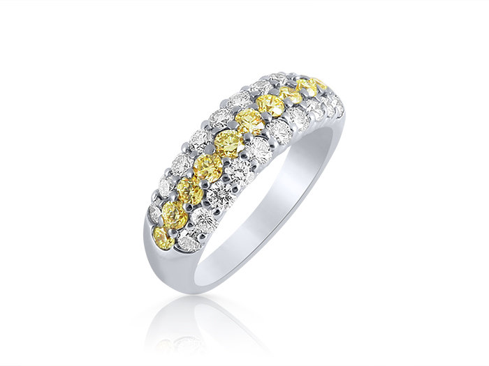 JB Star Platinum & 18K Yellow Gold Diamond Band, Featuring 11 Round Fancy Yellow Diamonds =.52cts Total Weight and 20 Round White Diamonds =.72cts Total Weight