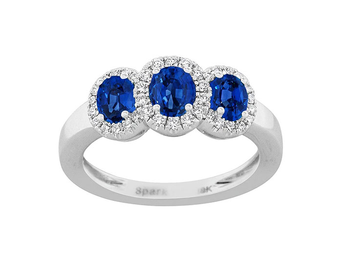 Spark 18K White Gold Blue Sapphire & Diamond Halo Band, Featuring 3 Oval Blue Sapphires =1.20cts Total Weight, Accented with 38 Round Diamonds =.24cts Total Weight